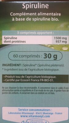 Spiruline - Nutrition facts