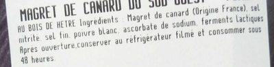 Le Magret de Canard du Sud-Ouest fumé au bois de hêtre - Ingrédients - fr