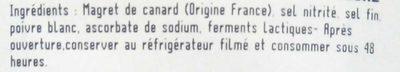 Le magret de canard du Sud-Ouest séché-tranché - Ingrédients