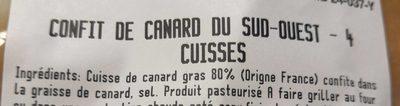 Cuisses de canard confites Sud-ouest - Ingrédients