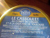 Le Cassoulet au confit de canard - Informations nutritionnelles - fr