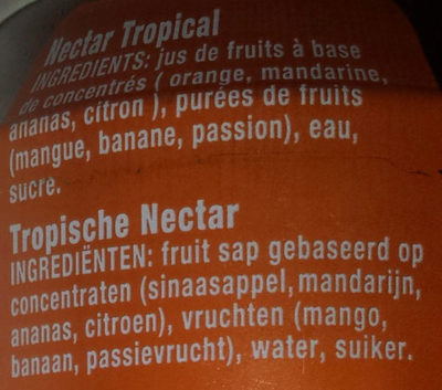 Nectar Tropical - Ingrédients - fr