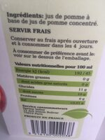 Jus de pomme - Ingrédients - fr
