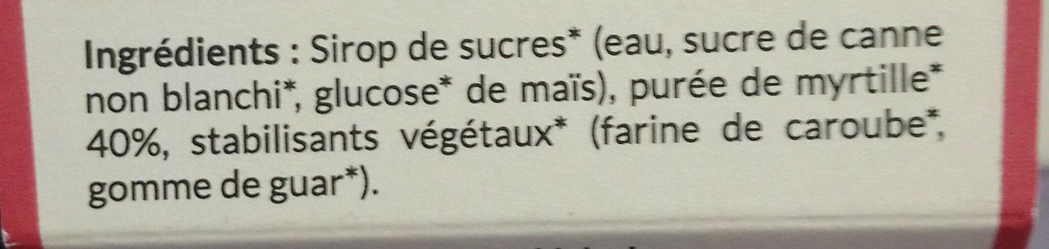 Sorbet myrtille plein fruit - Ingrédients - fr