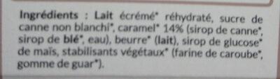 Crème Glacée Caramel au sucre de canne - Ingredients