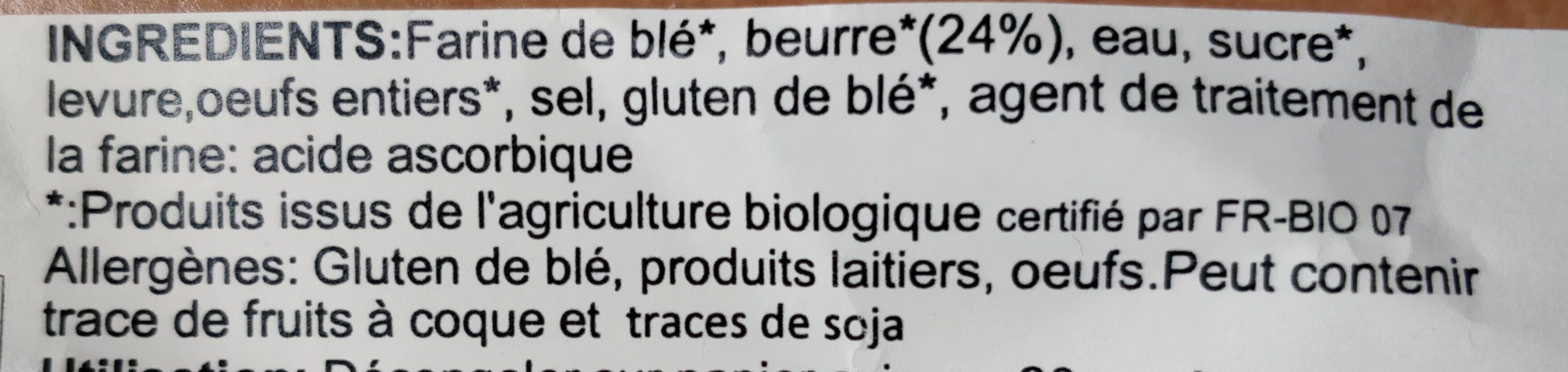 Croissants au beurre (4 x 70 g) - Ingrédients