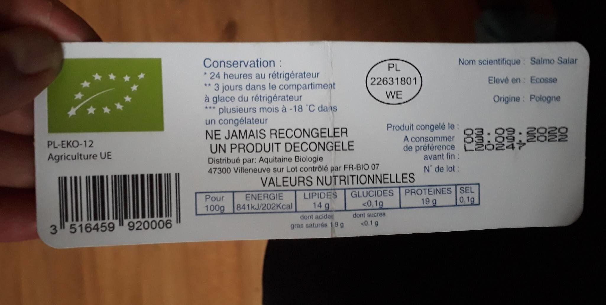 Pavé de saumon bio - Nutrition facts - fr