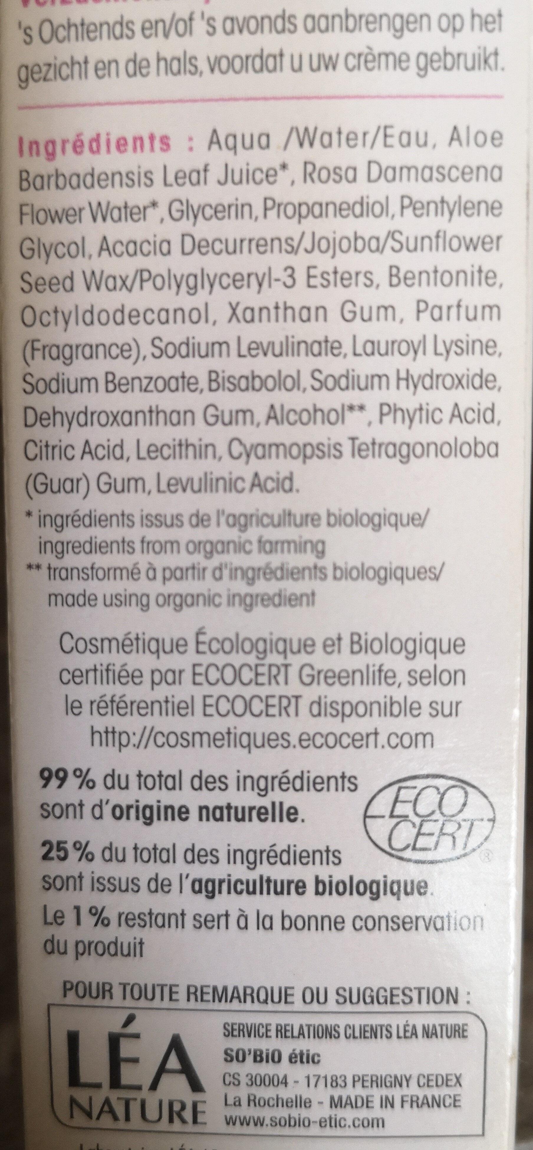 Sérum hydratant apaisant - Ingrédients - fr