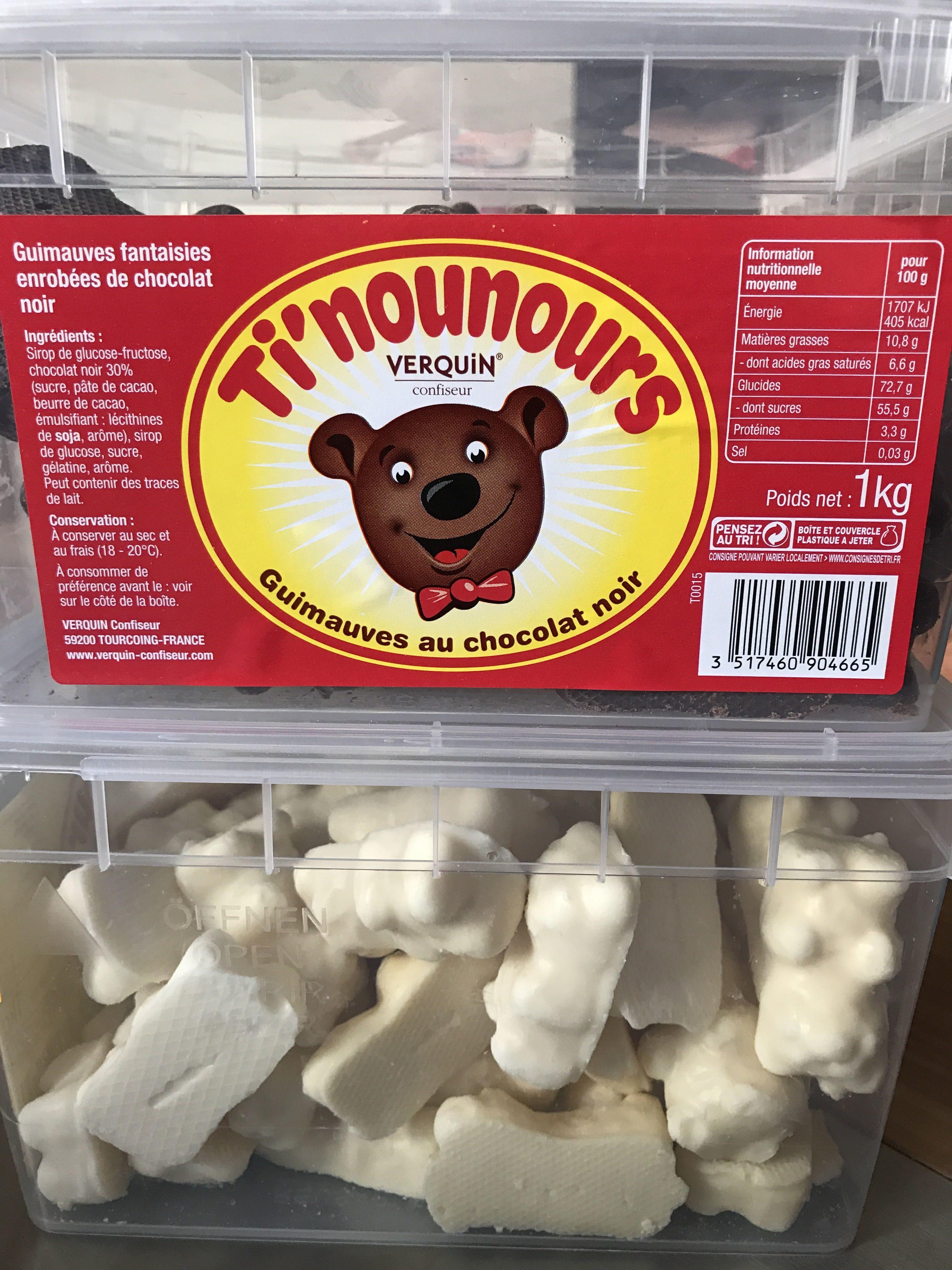 Ti'nounours Bonbon à La Guimauve Enrobées De Chocolat Noir, - Product - fr