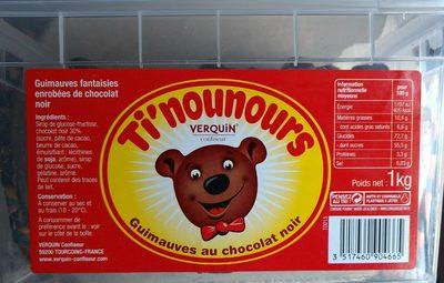 Ti'nounours Bonbon à La Guimauve Enrobées De Chocolat Noir, - Nutrition facts - fr