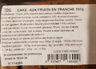 Cake aux fruits en tranche - Ingrédients - fr