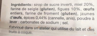 Toasts pain d'épices miel figues BISCUIT GOURMAND - Ingrédients