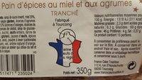 Pain d'épices au miel et aux agrumes - Voedingswaarden - fr
