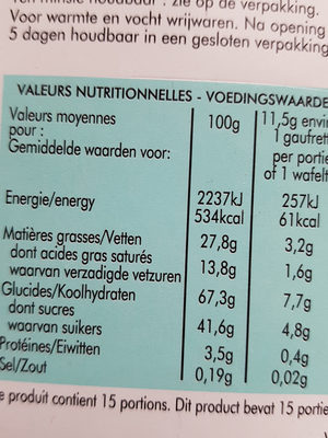 Gaufrette Amusante bio à la Vanille - Nutrition facts