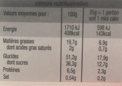 5 Mini cakes bio aux fruits - Ingrediënten - fr