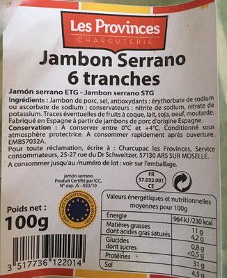 Jambon serrano 6 tranches - 1