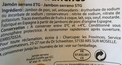 Jambon serrano 6 tranches - Ingrediënten