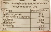 Jambon serrano 6 tranches - Voedingswaarden - fr