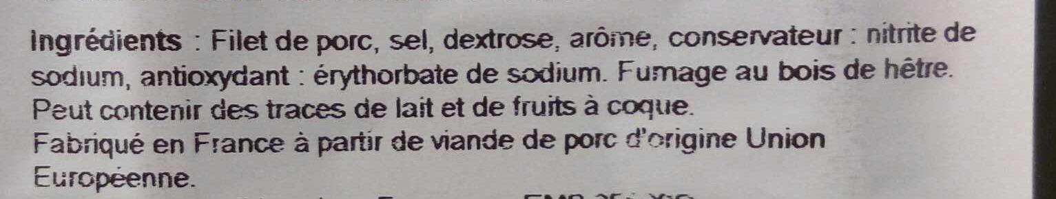 Filet de Bacon- Fumage au Bois de Hêtre - Ingrediënten