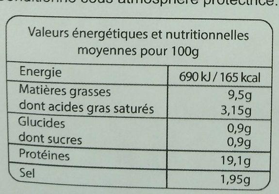 Jambon Cuit à la Truffe Blanche d'Été - Informations nutritionnelles