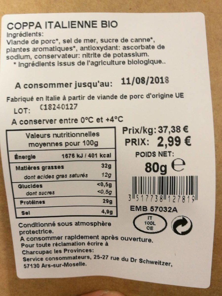 Coppa italienne - Nutrition facts