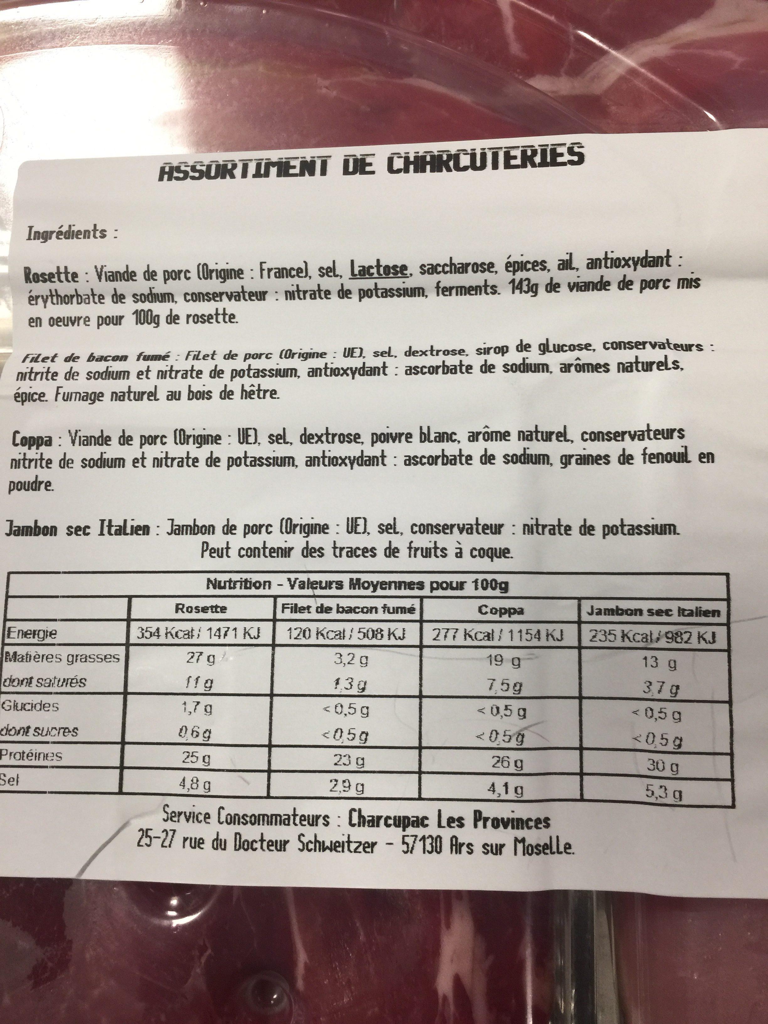 Plateau assortiment sec - Ingrediënten - fr