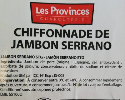 Chiffonnade de jambon serrano - Ingrediënten - fr