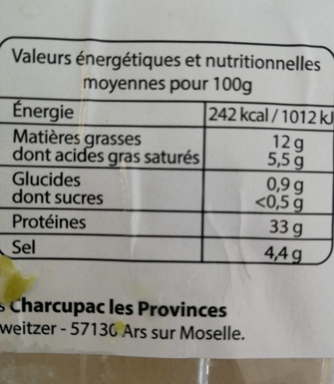 Chiffonnade de jambon serrano - Voedingswaarden - fr