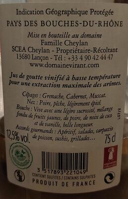 domaine VIRANT Famille Cheylan - Ingredients