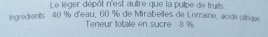Nectar de Mirabelle - Ingrediënten