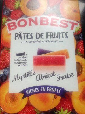 Pâtes De Fruits Fraise, Abricot, Myrtille x6 - Ingrédients - fr