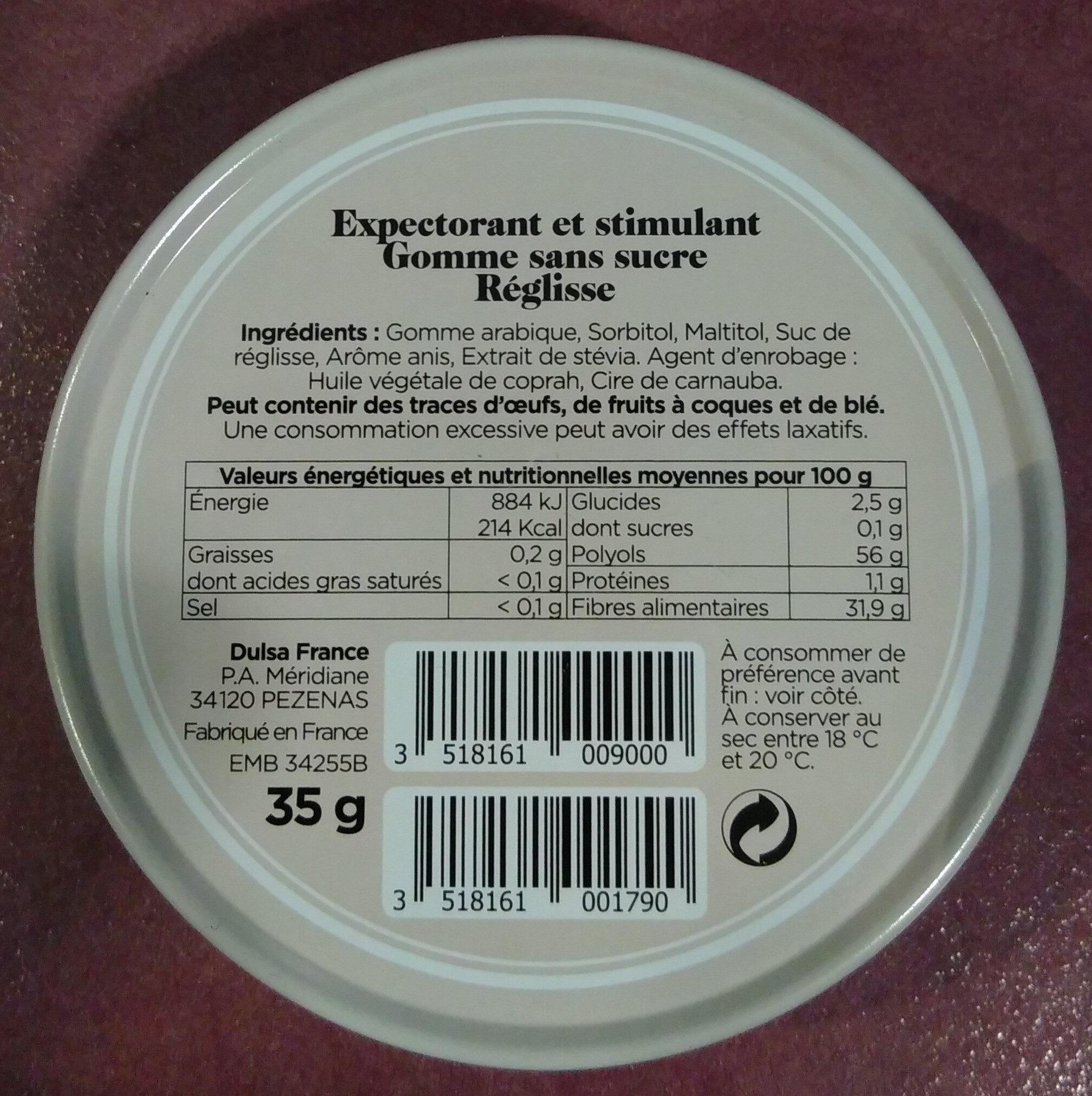 BIENFAISANT Réglisse - Informations nutritionnelles