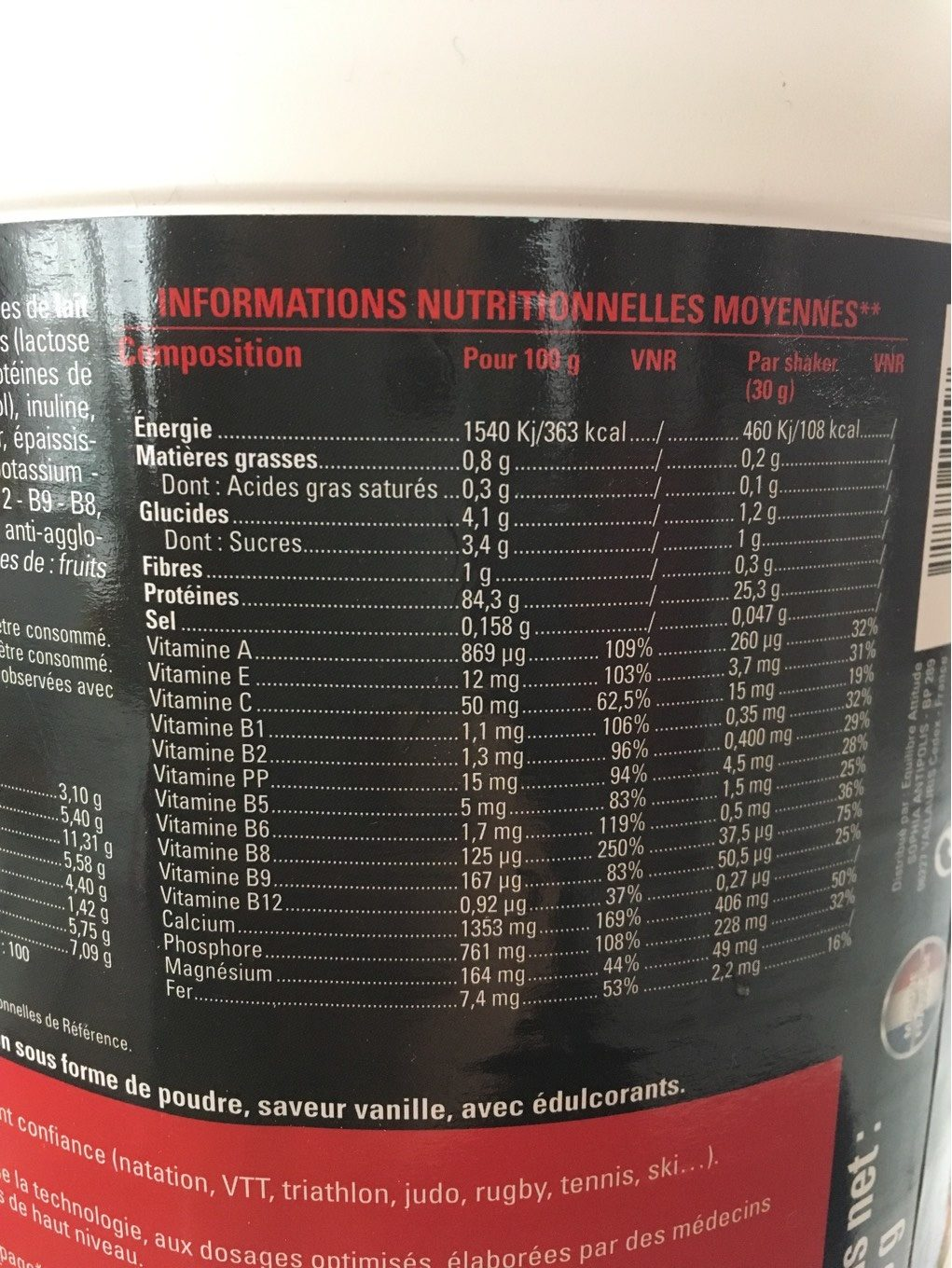 Eafit Milk & Egg 95 Muscle Volume And Definition Vanilla 750G (muscular Construction) - Voedingswaarden