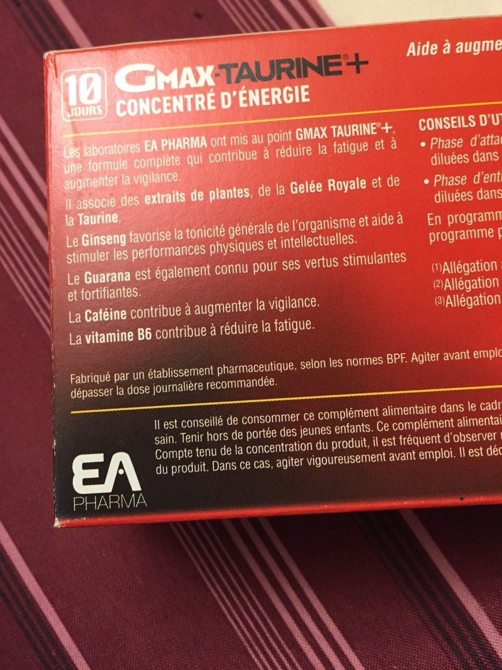 Ea Pharma Gmax Taurine Concentre Energie Goût Orange 30 Ampoules (well Being) - Product
