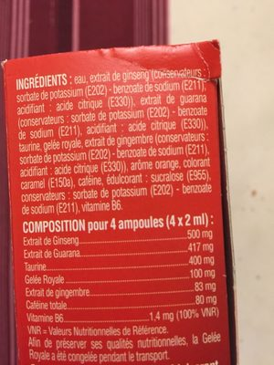 Ea Pharma Gmax Taurine Concentre Energie Goût Orange 30 Ampoules (well Being) - Nutrition facts