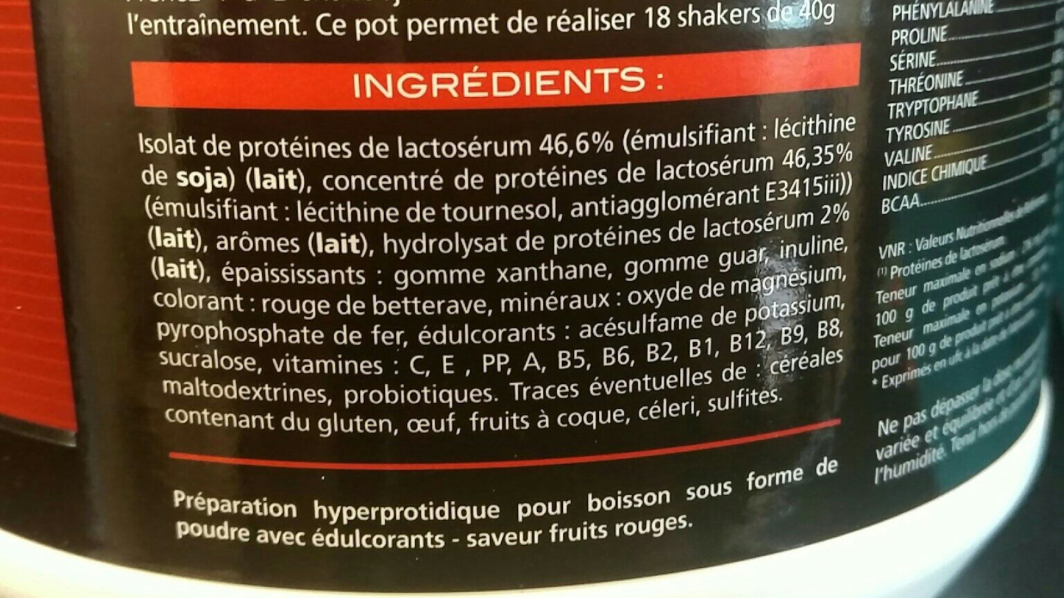 Eafit Pure Whey Croissance Musculaire Max Yaourt Fruits Rouges - Ingrediënten