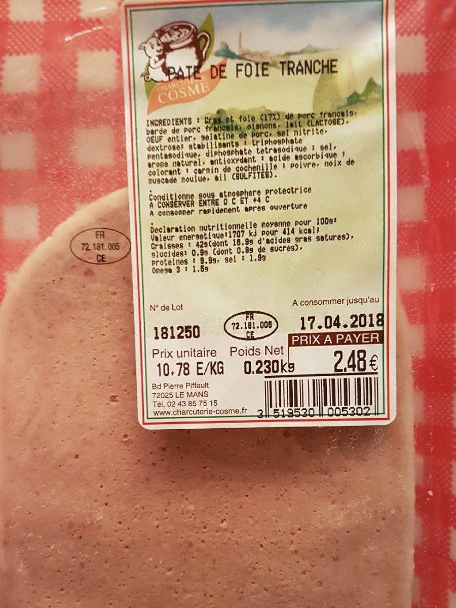 Pâté de Foie de porc Tranche - Produit - fr