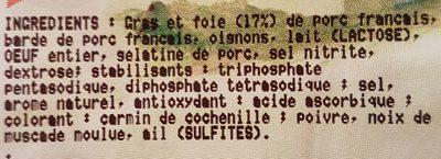 Pâté de Foie de porc Tranche - Ingrédients - fr