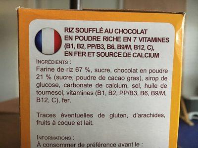 Riz soufflé choco - Ingredients
