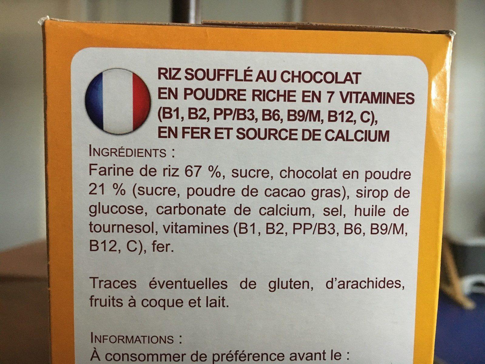 Riz soufflé choco - Ingredients - fr