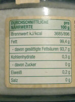 Natives Kokosöl kaltgepresst - Nutrition facts - de