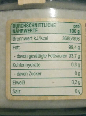 Natives Kokosöl kaltgepresst - Nutrition facts