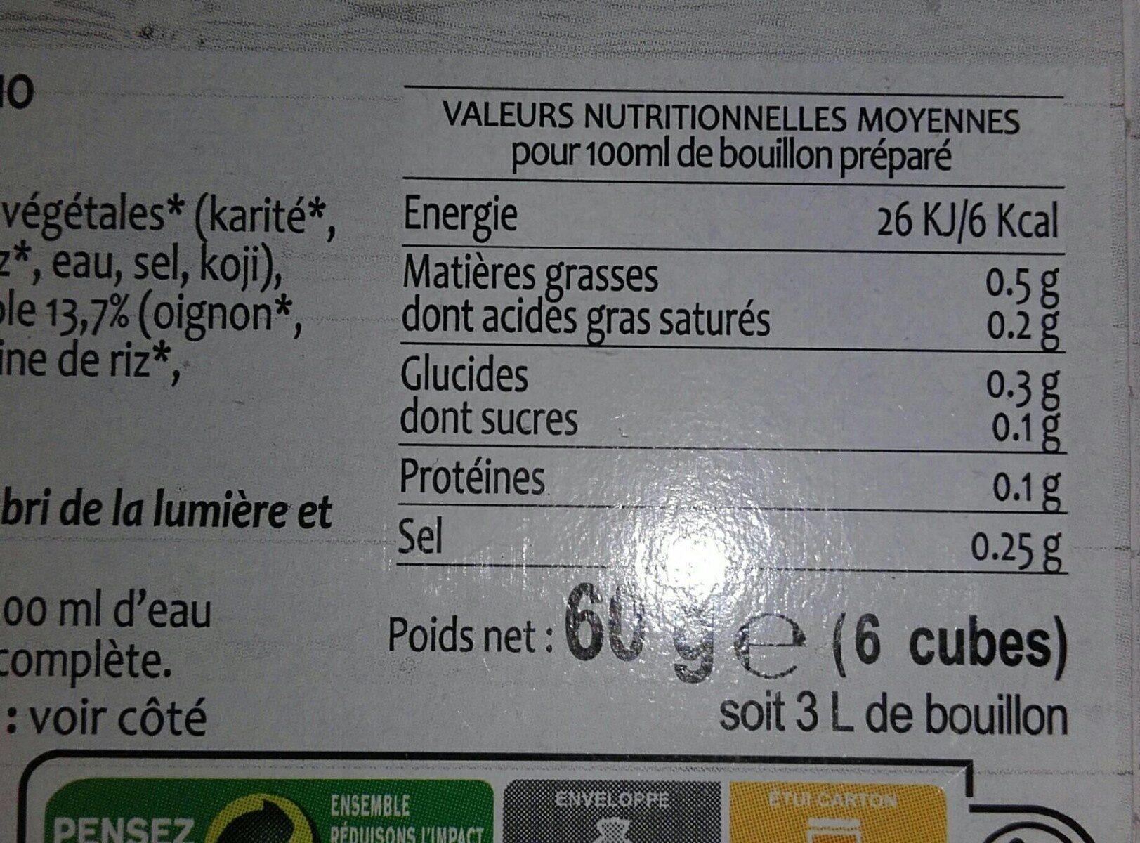 Bouillon de legumes - Informations nutritionnelles - fr