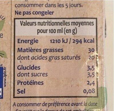 Crème entiere - Voedingswaarden - fr