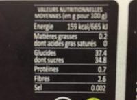 Infini fruit framboise - Voedigswaarden