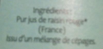 Pur Jus Raisin Rouge France - Ingredienti - fr