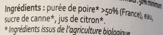 Nectar De Poire Bio - Ingredienti - fr