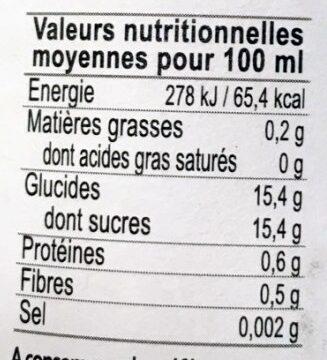 Nectar De Poire Bio - Valori nutrizionali - fr