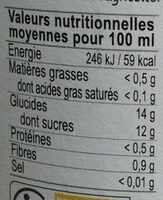 Nectar mangue - Informations nutritionnelles