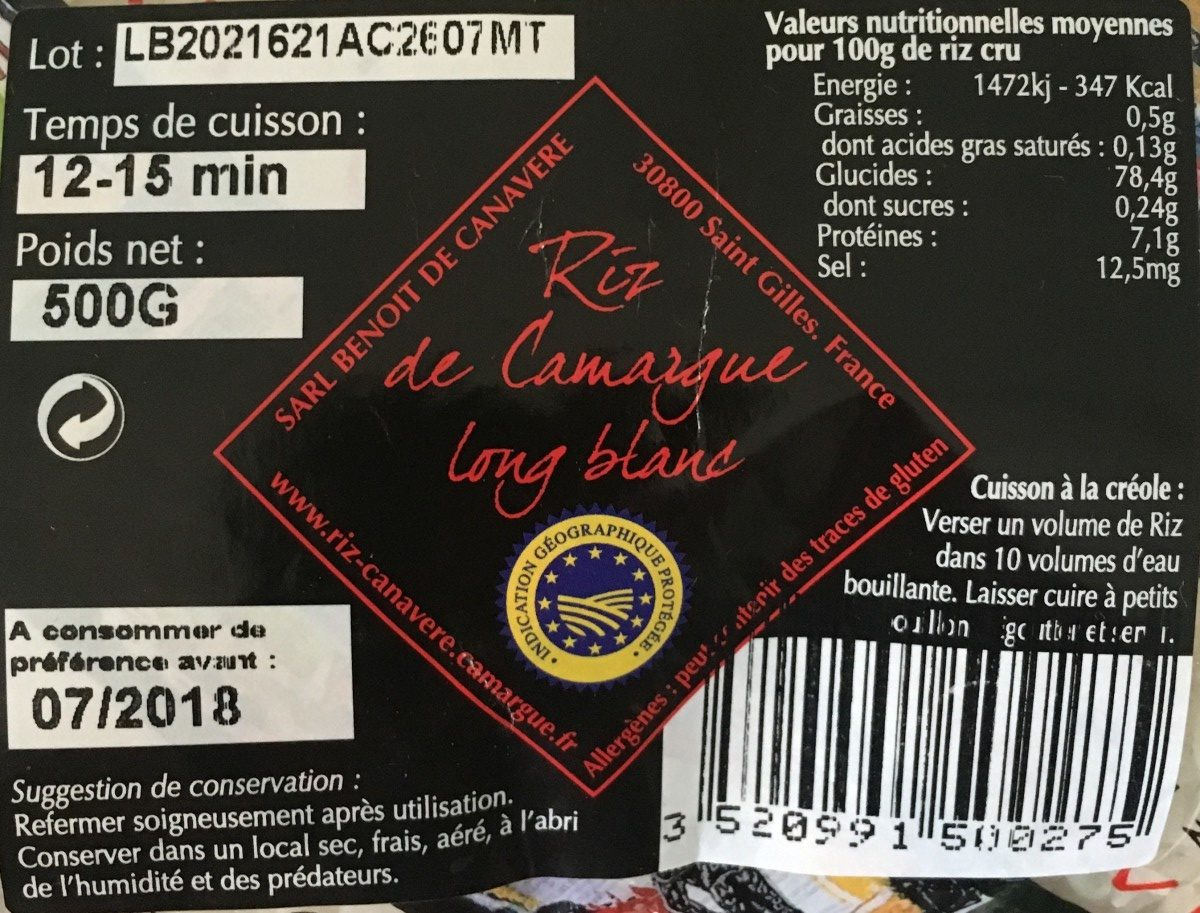 Riz de camargue long blanc - Ingredients - fr